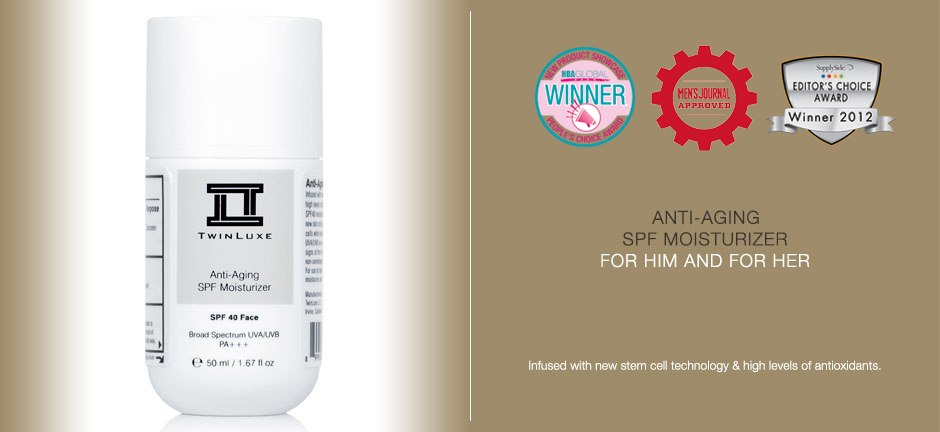 TwinLuxe Anti-Aging SPF 40 Face Moisturizer Unisex Sunscreen with Stem Cell technology
